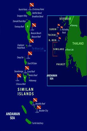 Dive Similan Islands Thailand Dive Map