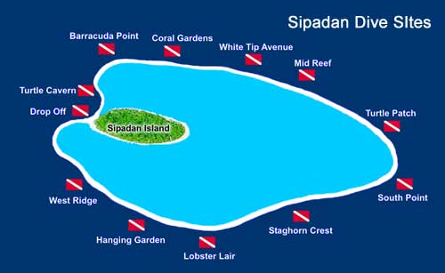 Diving Sipadan Sabah - Dive Map